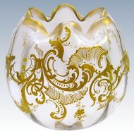 Large Antique St Louis French Gold Enamelled Vase with Undulating Rim.