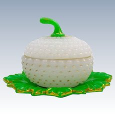 Large Antique Baccarat French Green and White Opaline 'Ananas' Sugar Casket Box