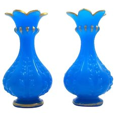 A Pair of Antique Baccarat French 'Bleu Drapeau' Glass Vases.