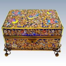 Large Exceptional Antique MOSER Blue Enamelled Glass Casket Box