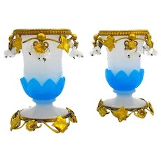 Antique Pair of French Palais Royal Blue and White Opaline Glass Vases.