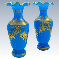 A Pair of High Quality Baccarat Blue Opaline Glass Baluster-Shaped Vases