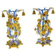 A Pair of Rare High Quality Antique French Cut Crystal 'Jewelled' Vases