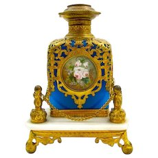Large Antique Palais Royal Blue Opaline Glass Perfume Bottle and Stand