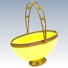 Rare Large Antique French Palais Royal Yellow Opaline Glass and Dore Bronze Basket