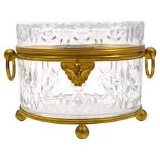 Antique Baccarat Cut Crystal Casket with Dore Bronze Loop Handles