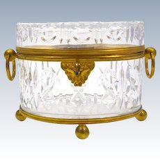 Antique Baccarat Cut Crystal Casket with Dore Bronze Loop Handles