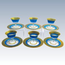 Antique Bohemian MOSER Blue and Gold Enamelled Dessert Set Glasses Decorated with Flowers.