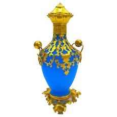 Antique Palais Royal French Blue Opaline Glass Perfume Bottle.