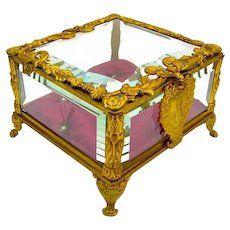 French Napoleon III Dore Bronze Jewellery Casket Box