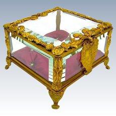 French Napoleon III Dore Bronze Jewellery Casket Box