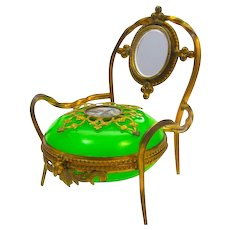Antique French Palais Royal Green Opaline Glass Chair Ring and Jewellery Holder.