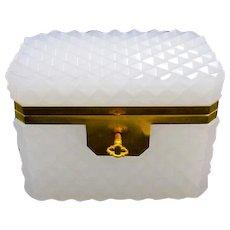 Antique White Opaline Glass Diamond Cut Rectangular Casket Box