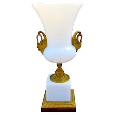 Antique French White Opaline Glass Vase
