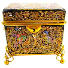 Antique MOSER Cobalt Blue Casket Box Enamelled with Flowers and Birds.