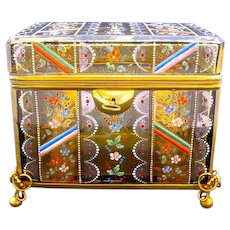 Stunning Large Antique Bohemian Amber MOSER Box Enamelled All Over with Flowers.
