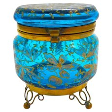 Unusual Antique Miniature Turquoise Enamelled MOSER Casket Box with Enamelled Dragonfly