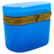 Antique Miniature French Blue Opaline Glass Casket Box