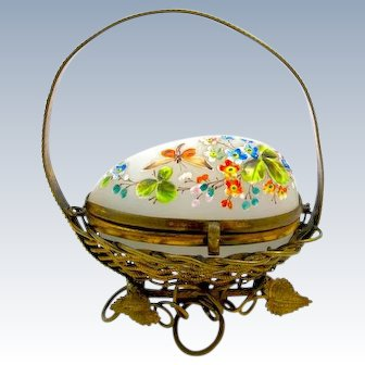 Antique French Opaline Glass Egg Box 'Basket' with Pretty Hand Painted Enamelling.