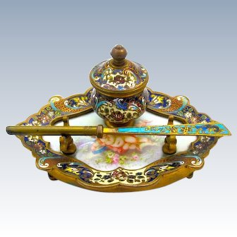 Antique French Cloisonné Inkstand and Pen