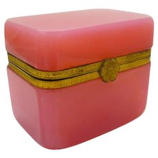 Antique Pink Opaline Casket Box with Dore Bronze 'Flower' Clasp