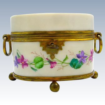 Delicate Antique French Opaline Casket with Double Dore Bronze Loop Handles and Lily of the Valley.