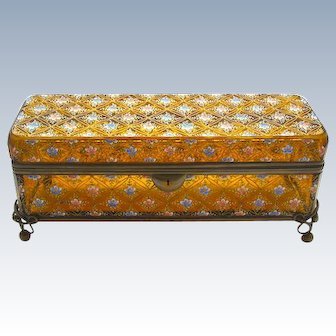 LARGE Antique Moser Glass Casket Box Enamelled with Flowers