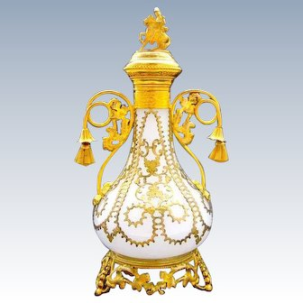 Tall Antique French Palais Royal White Opaline Glass Perfume Bottle