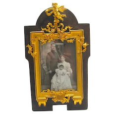 Antique Gilt Bronze and Leather SIGNED Frame A.Klein Paris, Crowned with a Sculpted Cherub.