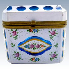 Antique Bohemian Turquoise Blue and White Overlay Casket Box with Hand Painted Flowers.