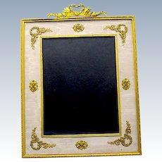 Large Antique French Napoleon III Cream Silk and Dore Bronze Frame.