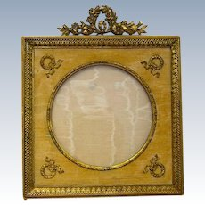 Antique French Empire Dore Bronze Frame with Classical Motifs.