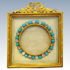 """Antique Small French Empire Dore Bronze Frame with Classical Motifs and Turquoise and Paste """"Jewels""""."""