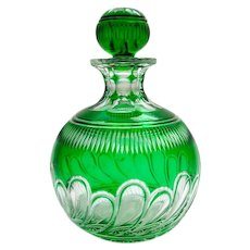 Antique Stevens and Williams Green and Clear Intaglio Cut Glass Perfume Bottle and Stopper.