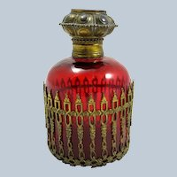 Antique Palais Royal French Ruby Red Glass Scent Bottle