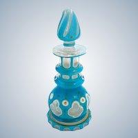 Miniature Antique Bohemian Triple Turquoise Overlay Glass Perfume Bottle
