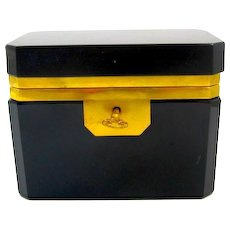 Vintage Italian Murano Black Opaline Glass Casket Box with Smooth Mounts and Key.