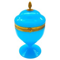 Antique French Blue Opaline Glass Hinged Box with Pedestal Base and Fancy Gilt Mounts.