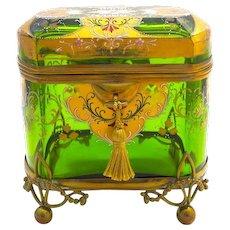 Stunning Large Antique MOSER Glass Casket Box.