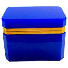 Vintage Italian Murano 'Lapis' Blue Glass Casket Box with Smooth Dore Bronze Mounts.