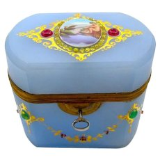 Antique French Rare Lavender Opaline Glass Casket Box and Key.