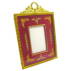 Antique French Empire Red and Dore Bronze Frame with Classical Motifs.