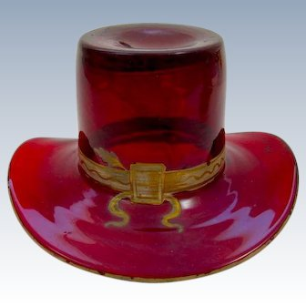 Antique French Ruby Red Glass Whimsical Hat.