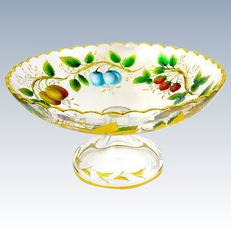 Stunning Antique Bohemian MOSER Enamelled Bowl Decorated with Brightly Enamelled Fruit.