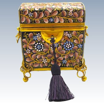 Antique MOSER Bohemian Amethyst Casket Box Enamelled with Colourful Birds and Flowers Throughout.