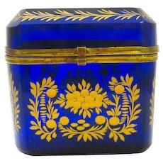 Antique Bohemian Cobalt Blue Glass Casket Box with Beautiful Gilded Flower Design.