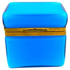 Antique Italian Murano Blue Opaline Overlay Glass Casket Box .
