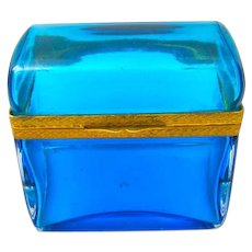 Antique Italian Murano Domed Clear Blue Glass Casket Box .