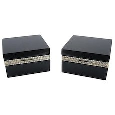Pair of Elegant Antique Murano Black Opaline Glass Boxes