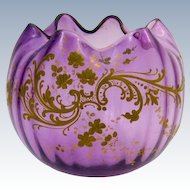 Antique  St Louis Glass Amethyst Bowl with Undulating Rim and Gold Enamel Decoration.
